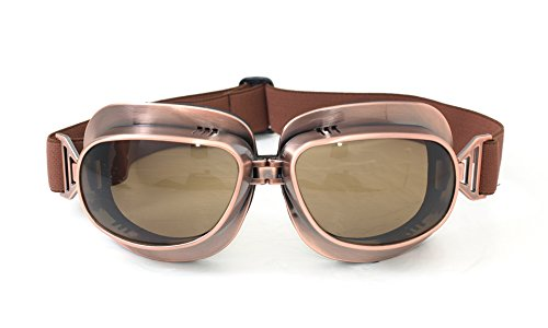 Men's Steampunk Goggles, Guns, Gadgets & Watches  Vintage Aviator Pilot Style Motorcycle Cruiser Scooter Goggle T04 T04ST - Parent (Copper Frame Tinted Lens) $19.99 AT vintagedancer.com