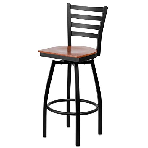 Wood Swivel Cherry Office Finish - Modern Style Metal Dining Bar Stools 360-Degree Swivel Seat Lounge Diner Restaurant Commercial Ladder Back Design Black Powder Coated Frame Finish Home Office Furniture - (1) Cherry Wood Seat #2198