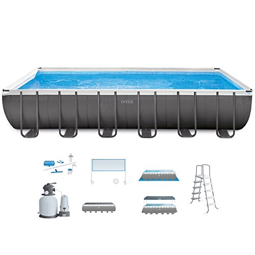 Intex 26365EH 24ft X 12ft X 52in Ultra Frame Rectangular Pool Set with Sand Filter Pump & Saltwater System, Ladder, Ground Cloth, Pool Cover, Maintenance Kit & Volleyball