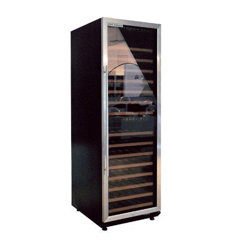 plenti WEIN CASE - Weinkü hlschrank 450l mit 15 Regalbö den und 2 Klima-Zonen schwarz/chrom CLE CARDAN LIGHT EUROPE