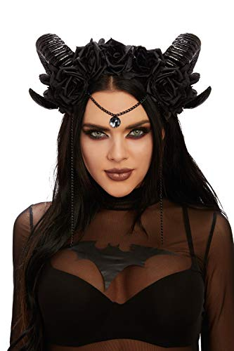 Dreamgirl Women's Mystical Ram's Horn Headpiece, Black, One Size]()