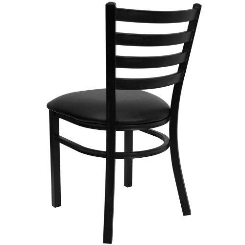 Flash Furniture 4 Pk. HERCULES Series Black Ladder Back Metal Restaurant Chair - Black Vinyl Seat by Flash Furniture (Image #2)