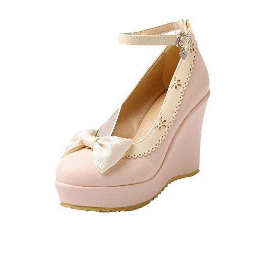 Damen Mittler Absatz Gemischte Farbe Schnalle Rund Zehe Pumps Schuhe, Grün, 35 AllhqFashion