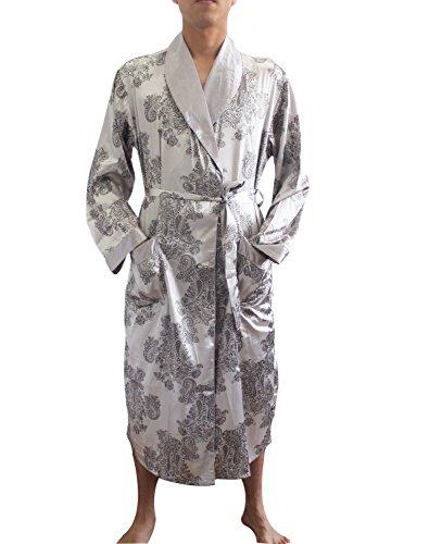 SexyTown Long Satin Lounge Print Bathrobe Men's Charmeuse Sleepwear with Pockets Medium B-Gray