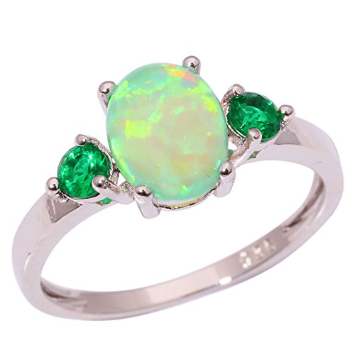 CiNily Silver Green Fire Opal Emerald for Women Jewelry Gemstone Ring Size 5-13 (Good Luck Gemstones)