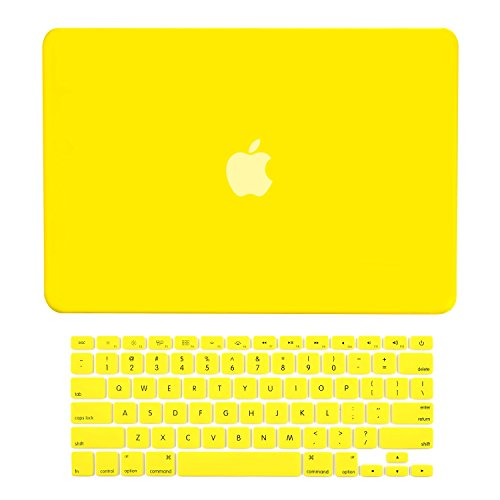 Yellow Air - TOP CASE - 2 in 1 Bundle Deal Air 13-Inch Rubberized Hard Case Cover and Matching Color Keyboard Cover for Macbook Air 13