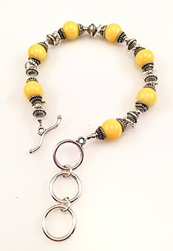 Yellow Glass Beaded Toggle Bracelet Glass Beaded Toggle