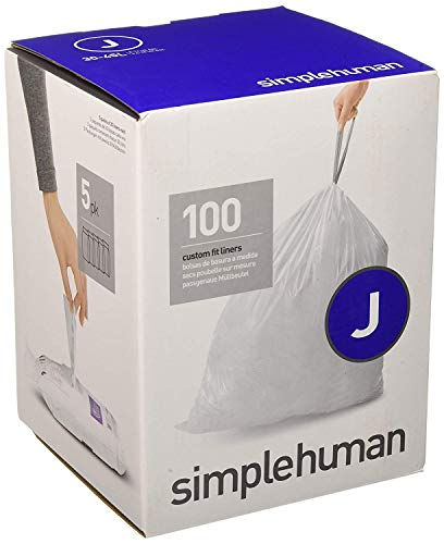 simplehuman Code J Custom Fit Liners, Tall Kitchen Drawstring Trash Bags 100 Pack White