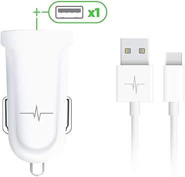Wave Concept Pack Cargador de Coche 1 Puerto USB 2,1 A + Cable USB-C 2.0: Amazon.es: Electrónica