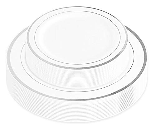 50-Piece Elegant Plastic Plates Set Service for 25 Disposable Plates Combo Include: 25 Dinner Plates & 25 Salad Plates for Weddings, Parties, Catering & Everyday Use (Silver Rim) -Stock Your Home