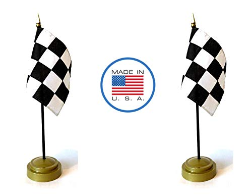 (Made in the USA Flag Set. 2 Black and White Checkered Rayon 4