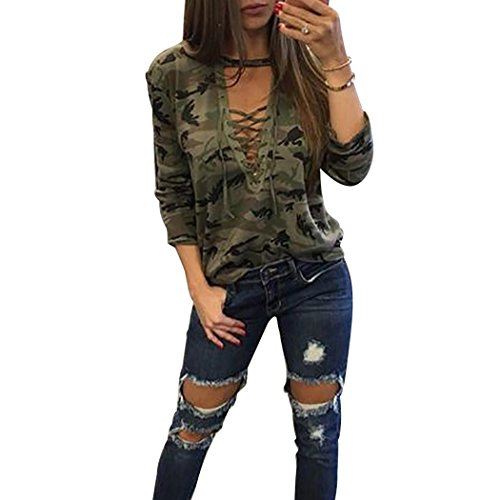 Vicheer Womens Long Sleeve Deep V-Neck Adjustable Blouses Tops Camo Military Shirts Green S (Sexy Camo Outfits)