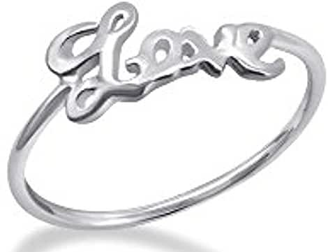 Fantom 925 Sterling Silver Love Script Design Ring With Matte Finish - Light Weight