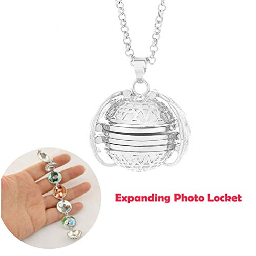 SuperThinker Expanding Photo Locket Necklace Pendant 4 Pictures Frame Gift Jewelry Decoration for Kids,Women,Boys (Silver) (Necklace Pendant Locket)