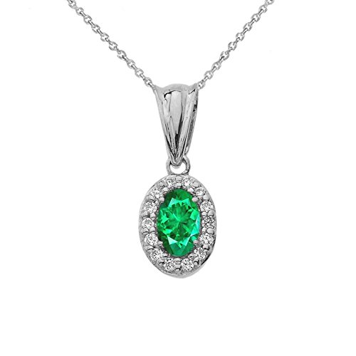 TIny 10k White Gold Diamond and Genuine Emerald Pendant Necklace, 18
