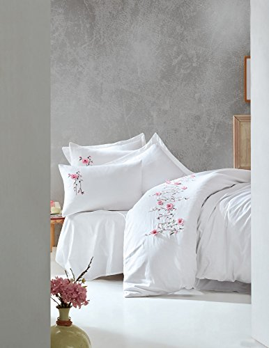 vet Cover Set, 100% Cotton Embroidered - Pink Flowers on White, Patterned - Set of 6 - Duvet Cover, Flat Sheet, Two Pillowcases and Two Oxford Pillowcases for Full and Double Bed ()