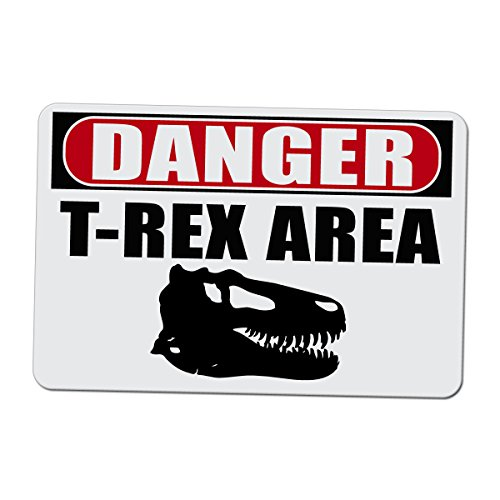 Tyrannosaurus Rex Skull (Danger T-Rex Area with Skull - Novelty Sign - 15 Inches Wide by 10 Inches Tall Aluminum Sign)