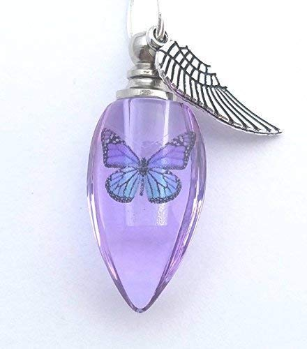 (Handmade Cremation Jewelry Urn Bead Butterfly Angel Wing Sympathy Gift Sterling Silver Necklace - PURPLE)