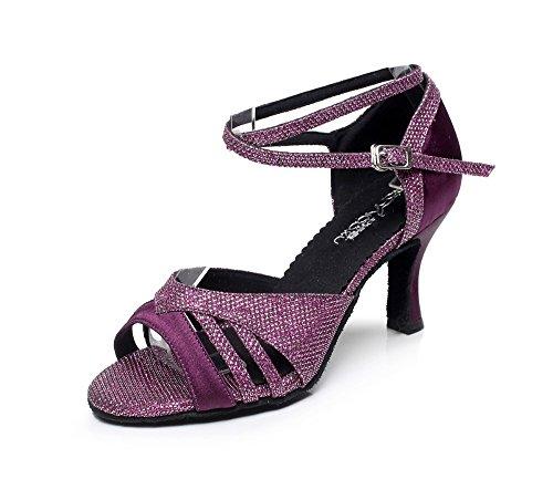 YFF Female Waltz Modern Dancing Shoes Tango Shoes Latin High Heel 6/7.5/8.5cm ,Purple 75mm,4.5