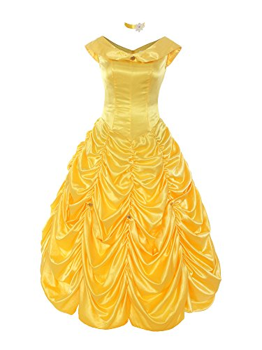ReliBeauty Womens Princess Belle Costume Layered Dress up, Yellow, (Belle Dress For Adults)