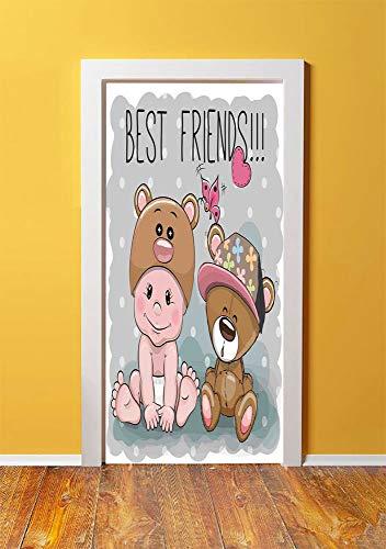 - Butterflies 3D Door Sticker Wall Decals Mural Wallpaper,Cute Cartoon Baby in a Bear Hat and a Teddy Bear with Butterflies Best Friends Print Decorative,DIY Art Home Decor Poster Decoration 30.3x78.178