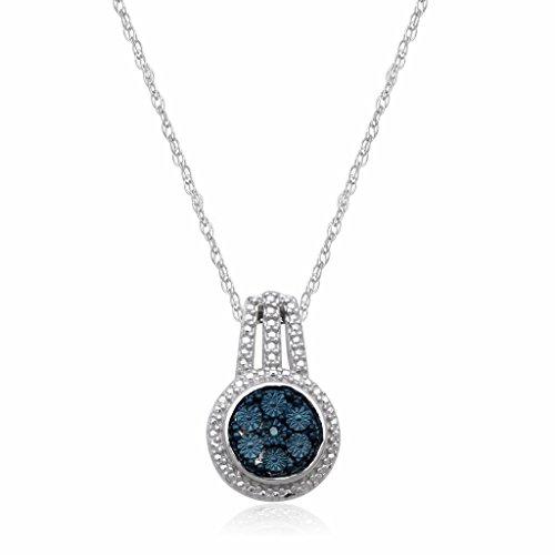 """lver Blue Diamond Accent Cluster Pendant Necklace, 18"""" (Blue Diamond Circle Pendant)"""