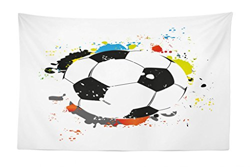 Lunarable Boy's Room Tapestry, Abstract Grunge Soccer Ball in Rainbow Colors Game Hobby Activity, Fabric Wall Hanging Decor for Bedroom Living Room Dorm, 45 W X 30 L inches, Black White Multicolor by Lunarable