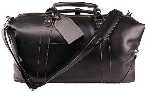Travel Duffel Bag I Oversized Genuine Leather Bag I Luggage I Padded Laptop Sleeve I Overnight Weekend Bag For Men/Women I Great Gift Idea