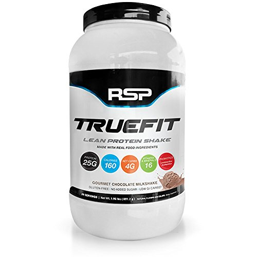 RSP TrueFit - Lean Meal Replacement Protein Shake with Fiber & Probiotics from Essential Real Whole Foods, Gourmet Chocolate Milkshake, 2 Pound Protein Powder for Men & Women