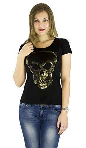 Fashion Women's t-Shirt With Sequins Cute Sparkly Applique Skull - Crystal Skull T-shirt