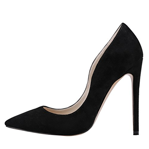 Mujer Wildleder Schwarz Tacón EKS de Zapatos Negro qZOUOg7W