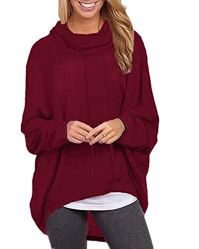 ZANZEA Damen Rollkragen Langarmshirts Asymmetrisch Sweatshirt Jumper Pullover Oversize Tops