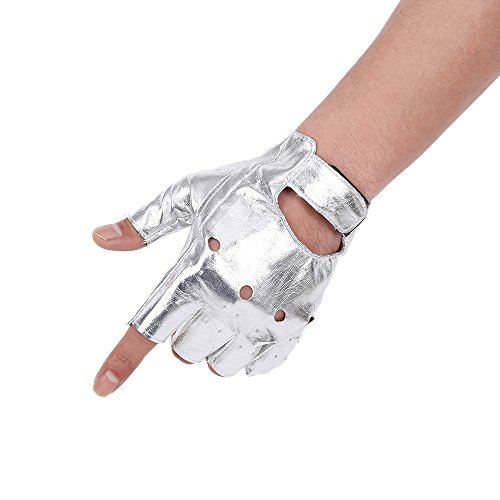 JISEN Men PU leather Punk Half Finger Hollow Out Gloves Silver