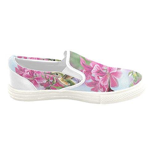 D-histoire Custom Sneaker Colibri Et Fleur Femmes Inhabituelles Chaussures De Toile À Enfiler
