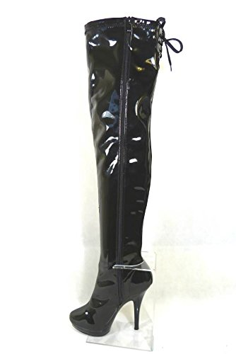 Platform HIGH Boots Black Womens Over Lace Heel Thigh 15505 Stiletto Black Knee Size Ladies The xPwYHp0qq