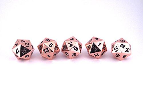 Solid Metal Bright Copper D20 5 Piece Polyhedral Dice Set - D&D RPG Pathfinder 4