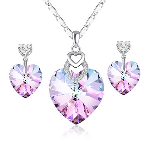 - PLATO H Heart Shape Jewelry Set Heart Necklace Earring Woman Fashion Jewelry Set