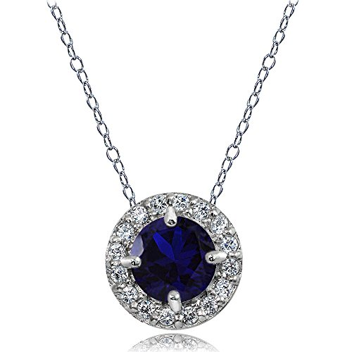Amethyst Blue Sapphire Necklace (Sterling Silver Created Blue Sapphire and White Topaz Round Halo Necklace)