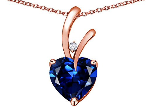 - Star K Heart Shape 8mm Created Sapphire Endless Love Pendant Necklace 10 kt Rose Gold
