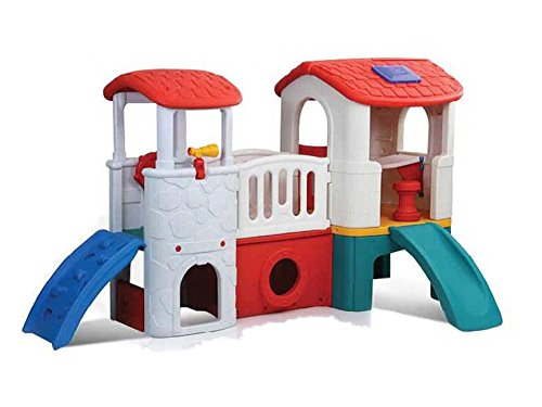 PlayGro-Jumbo-Play-Station-White-Wall-Blue-Slide-Red-Roof-And-Yello-And-Green