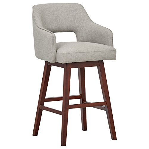 "Rivet Malida Mid-Century Open Back Swivel Bar Stool, 41""H, Felt Grey"
