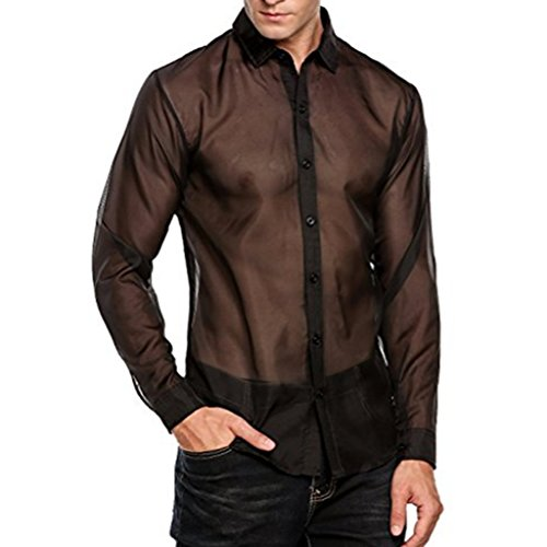 YiZYiF Men's See Through Mesh Clubwear Perspective Muscle Top Button-Down Shirt Black X-Large