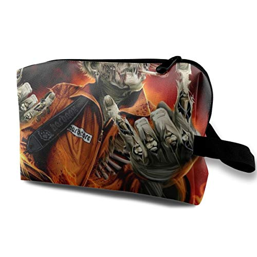 Halloween Zombie Fireman Creepy Spooky Multi-function Travel Makeup Toiletry Coin Bag Case]()