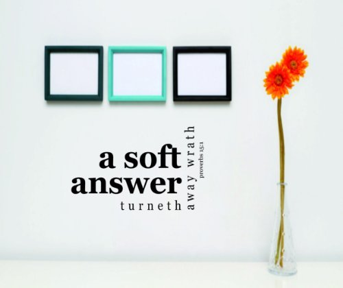 A Soft Answer Turneth away wrath – KJV NIV BIBLE QUOTE – Proverbs 151 - Picture Art - Peel Stick Vinyl Wall Decal Sticker Size  16 Inches X 24 Inches - 22 Colors Available