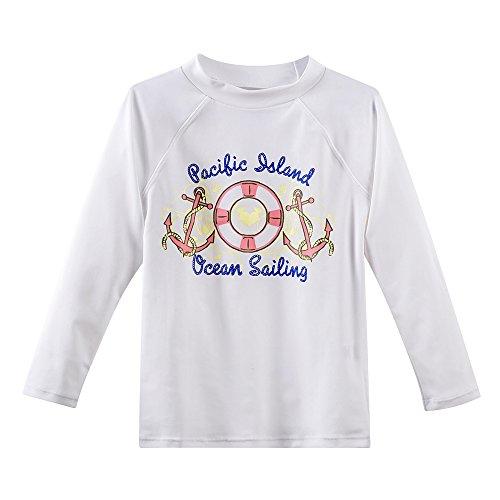 Baby Girls Rash Guard Top (Baby Toddler Girl's Long Sleeve Rashguard Shirts Swimwear Upf 50+ Sun Protection 2t, White)