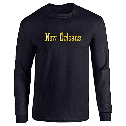 New Orleans Retro Vintage Travel Black L Long Sleeve T-Shirt