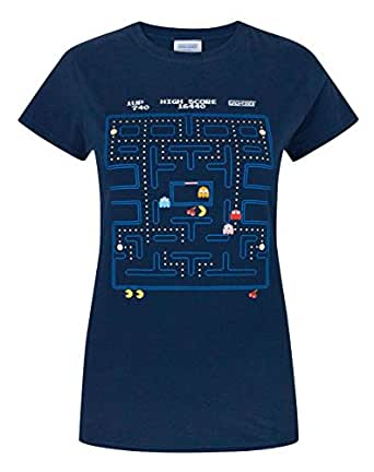 Pacman Classic Action Scene Womens T-Shirt, Blue, S