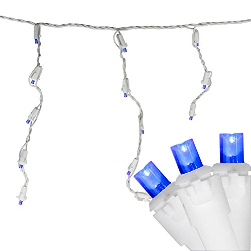 White Lights Blue Icicle Wire (Northlight Set of 100 Blue LED Wide Angle Icicle Christmas Lights - White Wire)