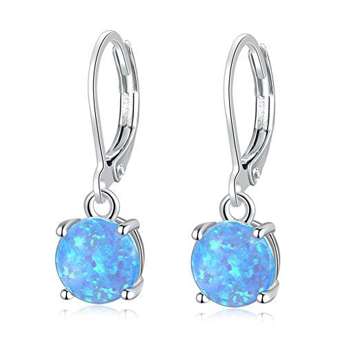 CiNily Round-Cut Opal Dangle Earrings, Blue Fire Opal Rhodium Plated Women Girls Jewelry leverback Gemstone Drop Earrings