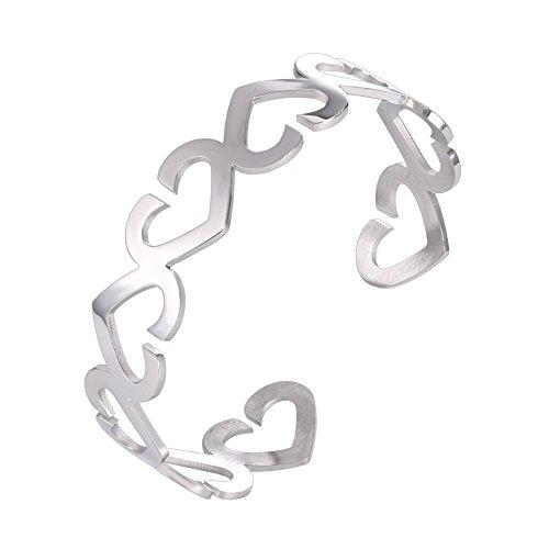 U7 Heart to Heart Cuff Bracelet Stainless Steel Bangle Women